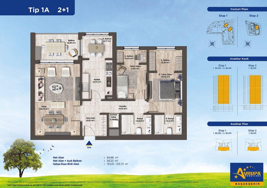 شقق عائلية و استثمارية للبيع في بشاك شهير | مشروع أوروبا كونوتلاري 12
