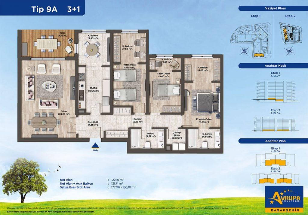 شقق عائلية و استثمارية للبيع في بشاك شهير | مشروع أوروبا كونوتلاري 13