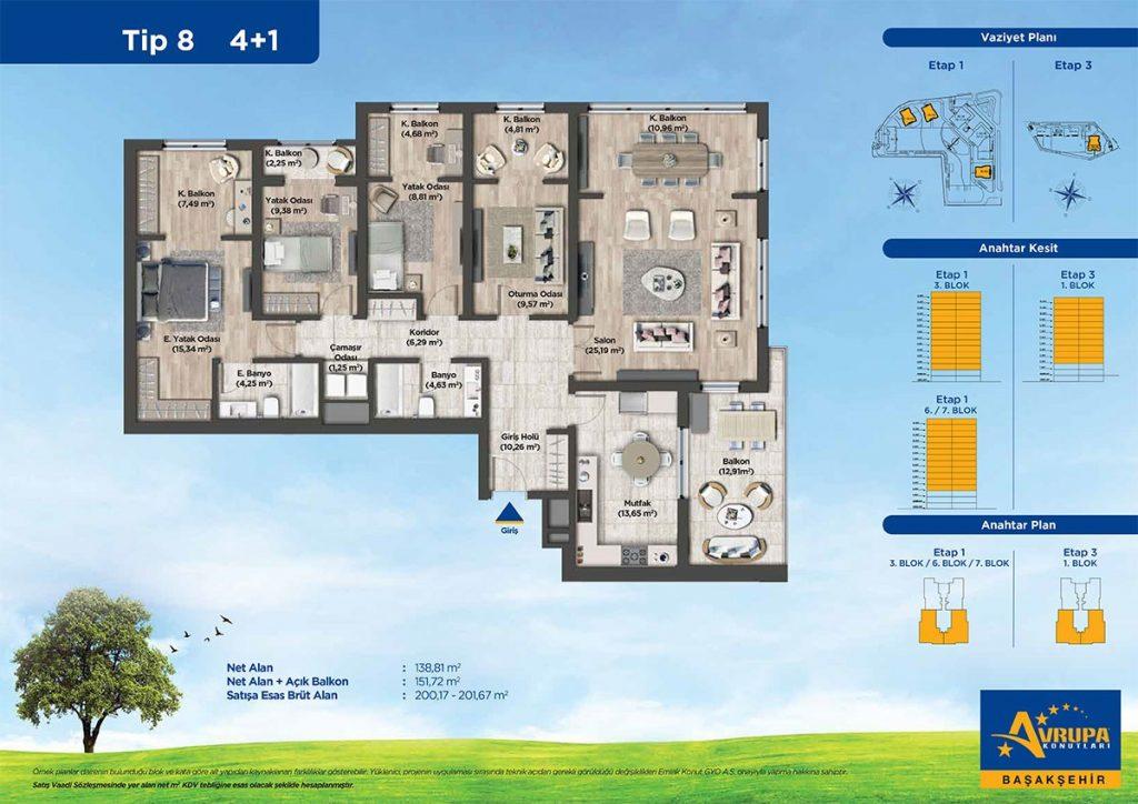 شقق عائلية و استثمارية للبيع في بشاك شهير | مشروع أوروبا كونوتلاري 14